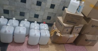 Sanitizers, Gloves, Head gears and Masks are ready for distribution